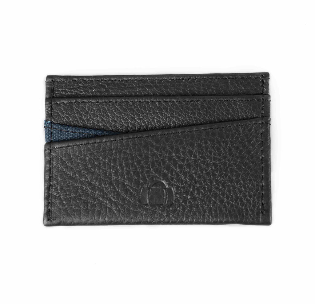 Black leather cardholder. Mayfair collection, blue canvas. Barrels of London. Front view