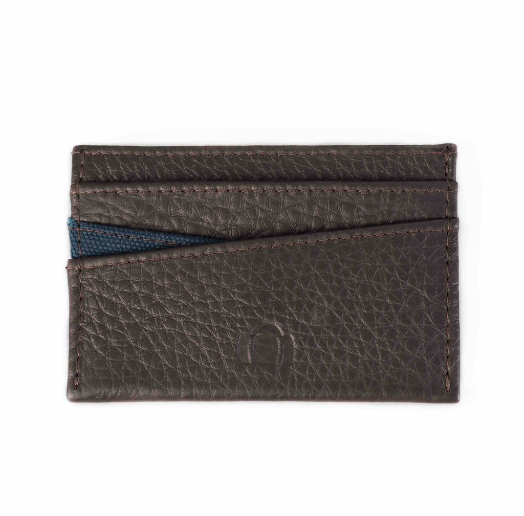 Brown leather cardholder. Mayfair collection, blue canvas. Barrels of London. Front view