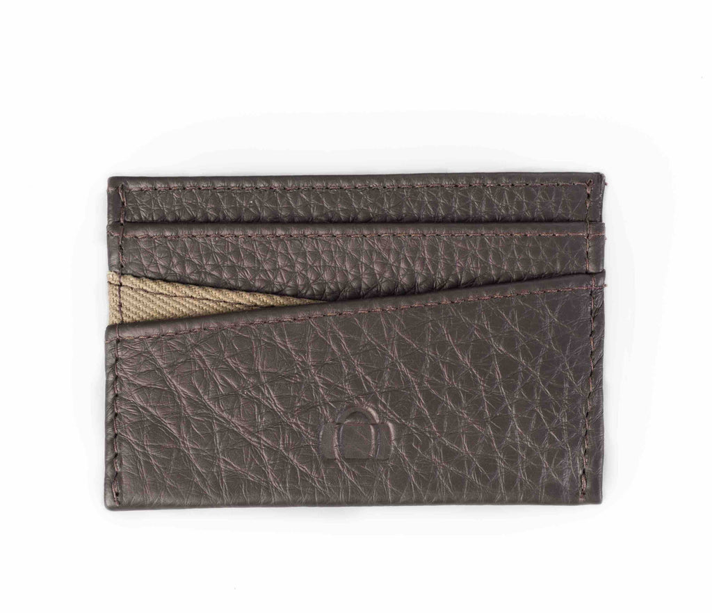 Brown leather cardholder. Westminster collection, moss canvas. Barrels of London. Front view