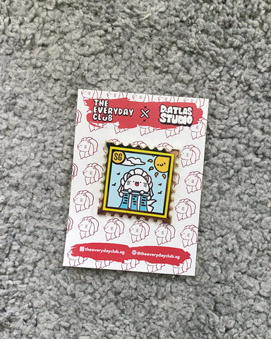 Merlion Stamp Enamel Pin