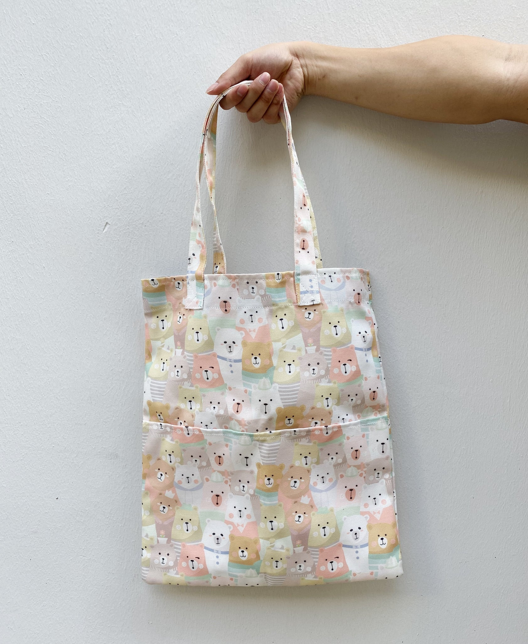 Double Pocket Tote - Cream Bear (Water-Repellent)