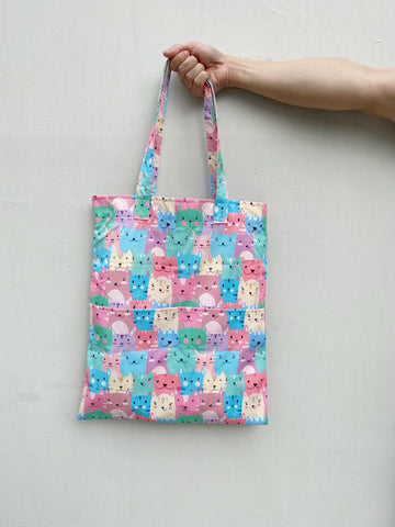 Double Pocket Tote - Pastel Cat