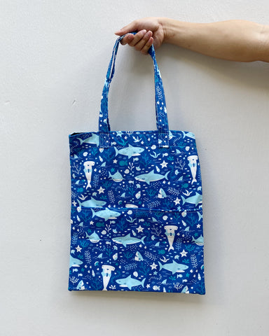 Double Pocket Tote - Shark-a-doodle (Water-Repellent)