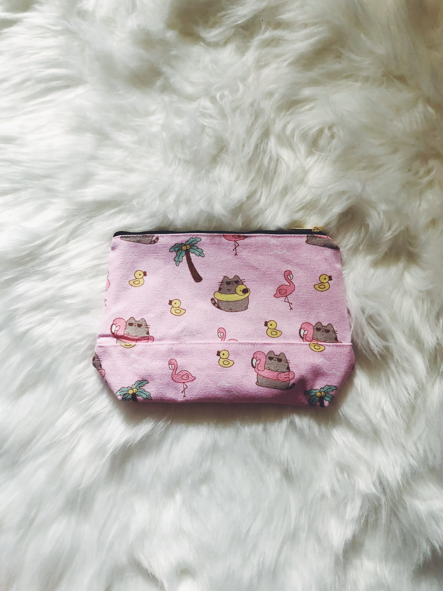 Summer Cat (Pink) Canvas Pouch