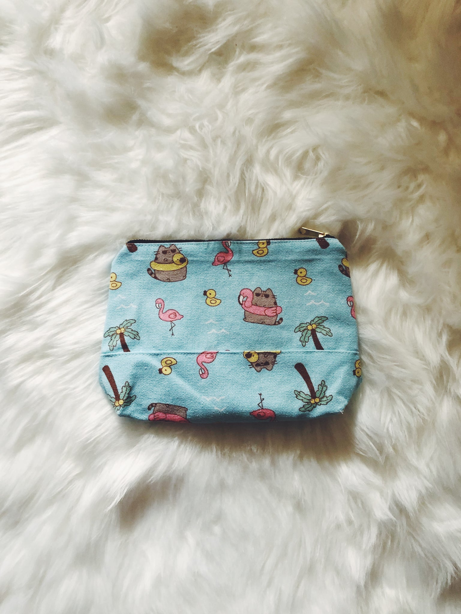 Summer Cat (Blue) Canvas Pouch
