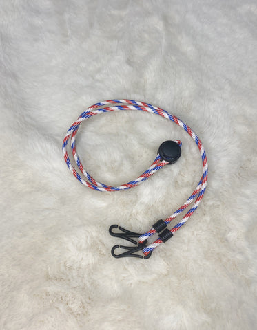 Paracord Neck Strap (blue/red/white)