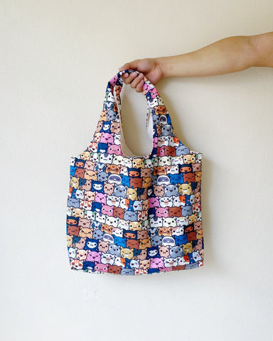 Shopper Tote - Skitties kitty Print (Water repellent fabric)