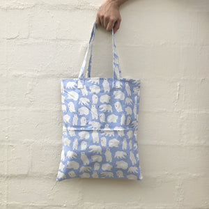 Polar Bear (Pastel Blue) Double Pocket Tote