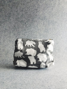 Grey Polar Bear Canvas Pouch