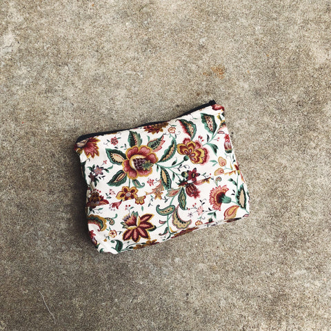 White Floral Japanese Cotton Pouch