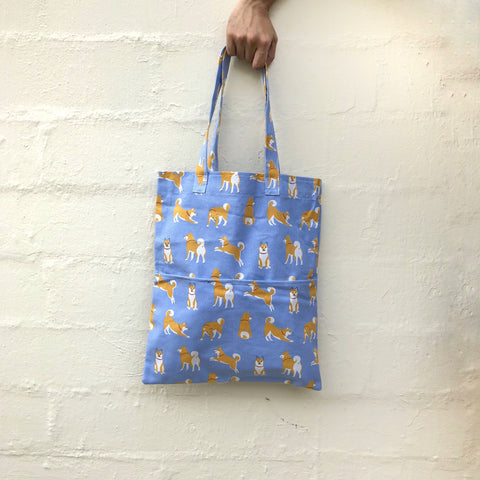 Shiba (Paste blue) Double Pocket Tote