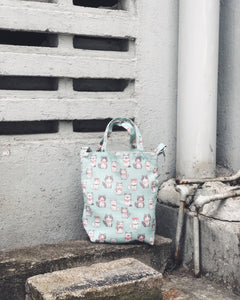 Mini/Small Sling Tote - Mint green bow cat