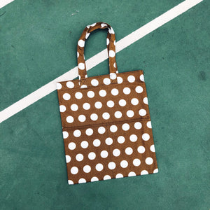 Double Pocket Tote - Poly Dot Brown