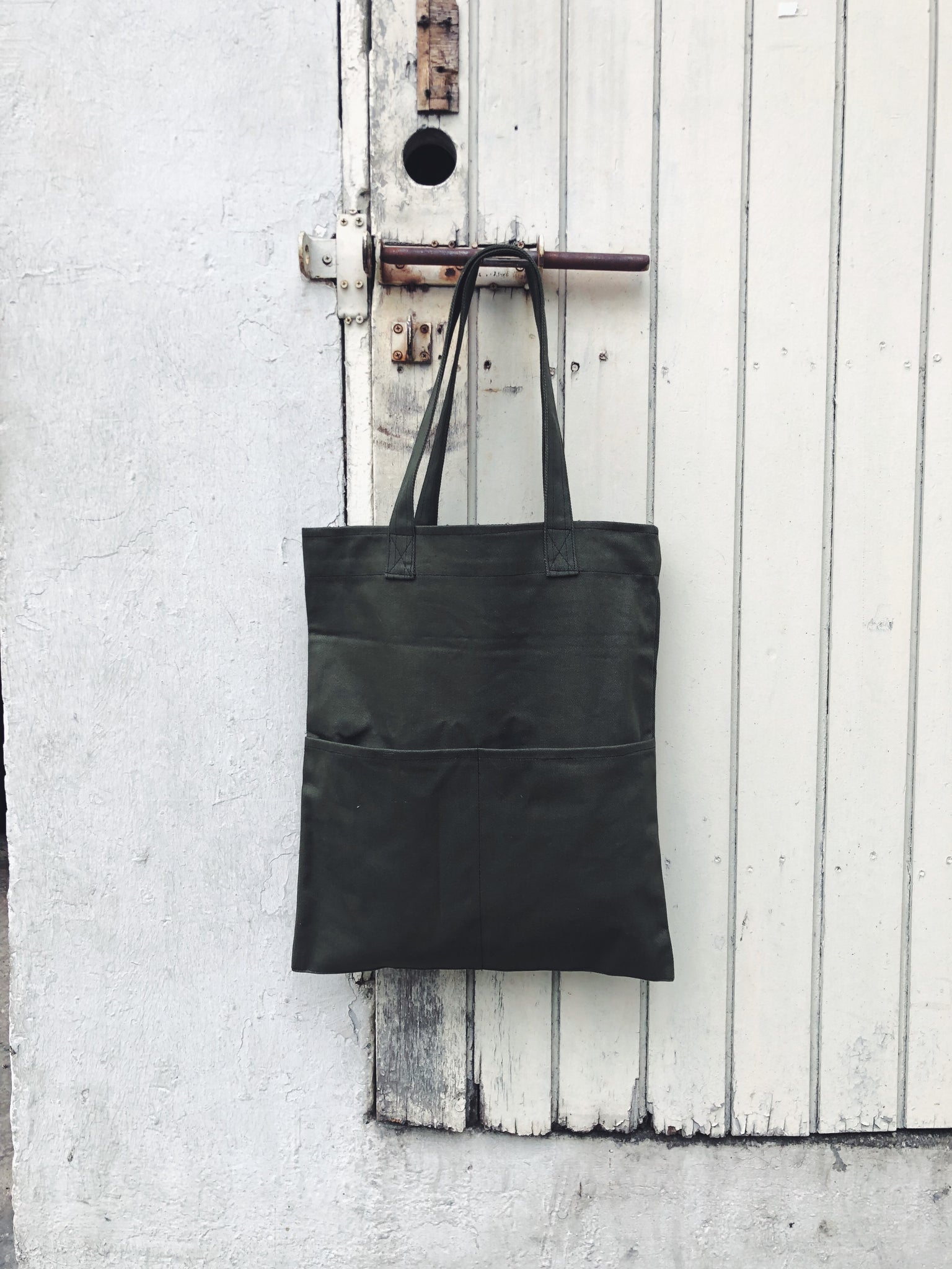 Double Pocket Tote (Canvas) Dark Grey