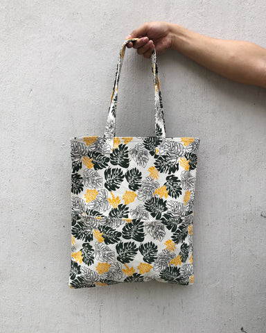 Double Pocket Tote - Monstera Madness