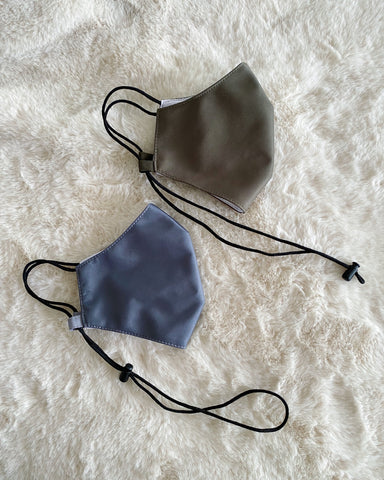 Reusable Mask v3.0 - Olive/grey Polyester with nose wire (Water-Repellent)