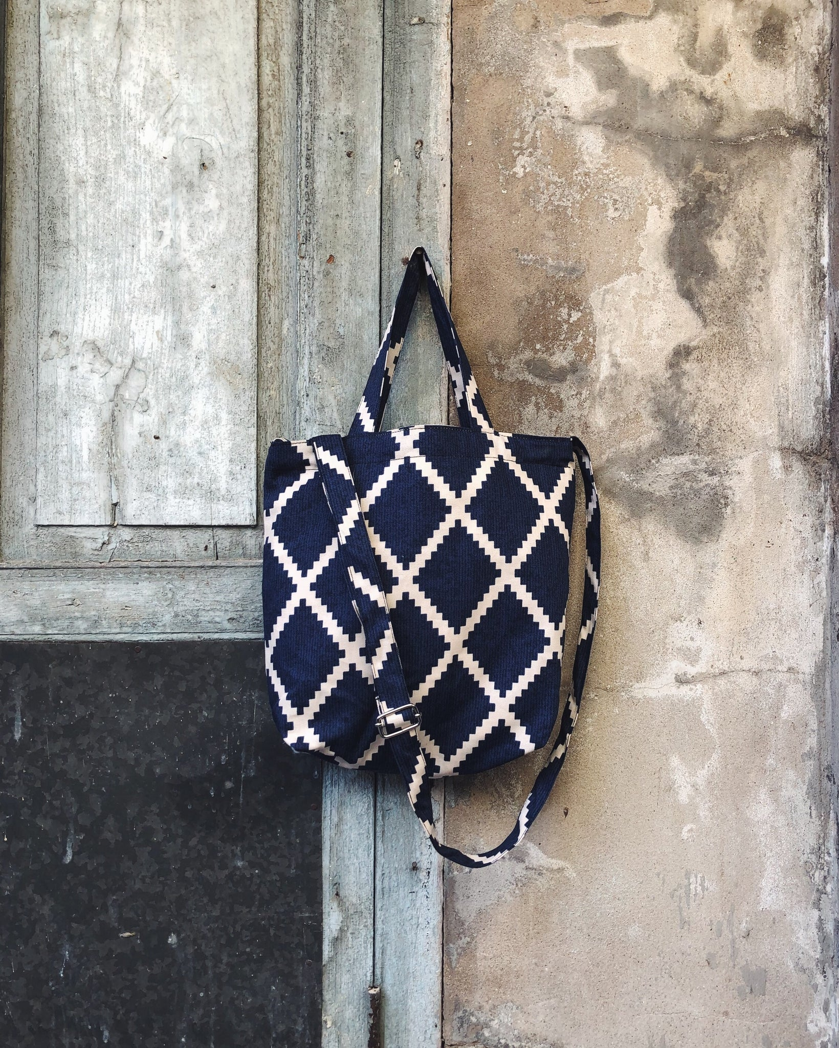 Mini Sling Tote - Blue Square Geometry