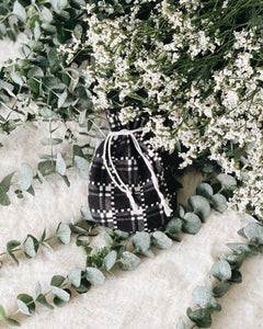 Drawstring Pouch (Small) - Japanese Cotton, Monotone Checkered Print