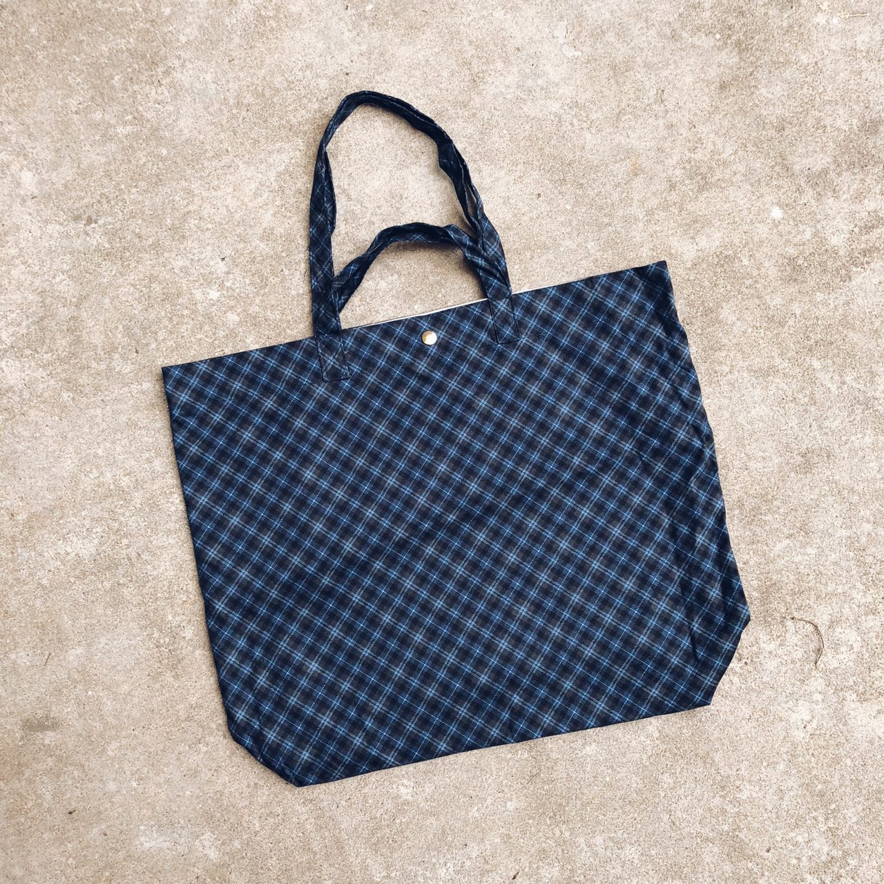 Navy Cross Checkered Japanese Cotton XL Tote