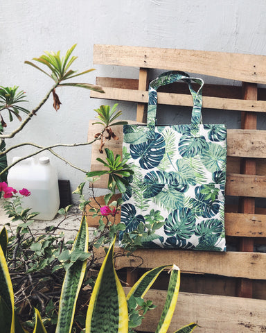 Double Pocket Tote - Monstera Magic