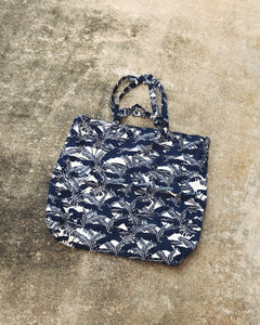 Navy Palm Tree Cotton XL Tote