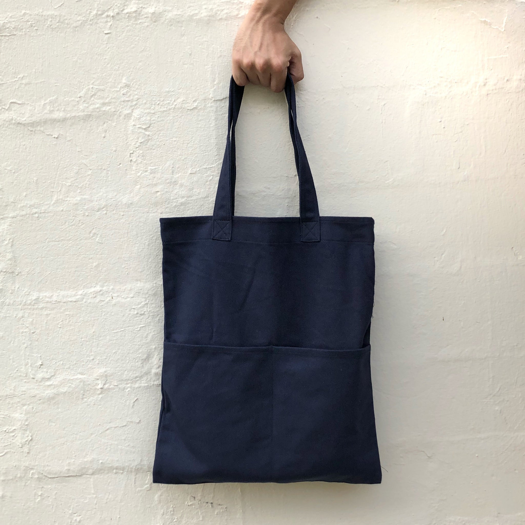 Double Pocket Tote - Navy