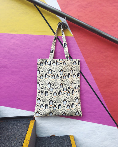 Double Pocket Tote - Penguins (Water-repellent fabric)