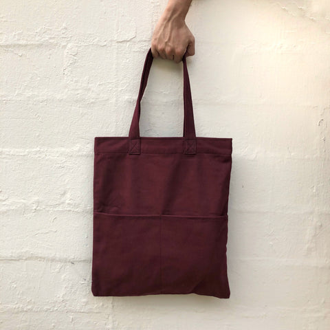 Double Pocket Tote - Maroon