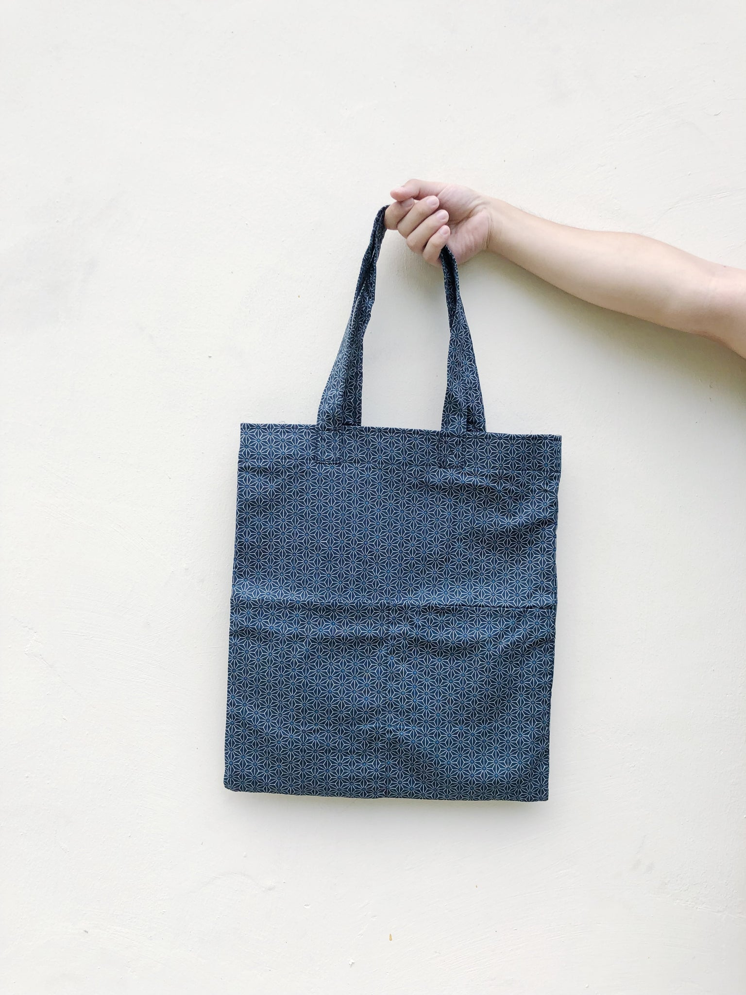 Double Pocket Tote - Japanese Cotton Geometric Print