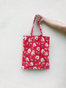 Double Pocket Tote - Fortune Cat Print