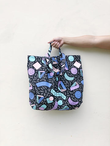 Black Geometry Print XL Tote