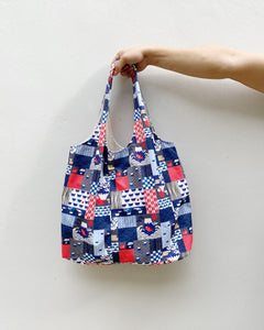 Shopper Tote - Japanese Icons Patchwork Print (Water repellent fabric)