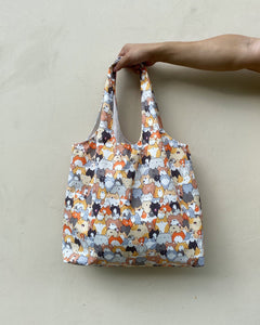 Shopper Tote - Orange Neko (Water repellent fabric)