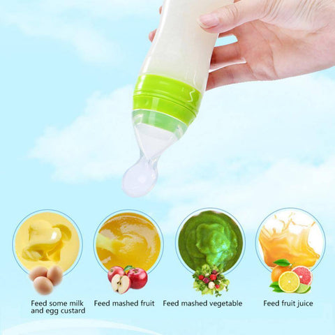 Image of Baby Squeezing Feeding Spoon Silicone Bottle
