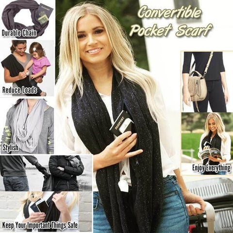 Image of Convertible Infinity Travel Scarf with Pocket