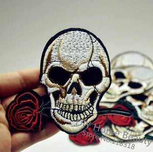 Rose Skull Clothes Patches