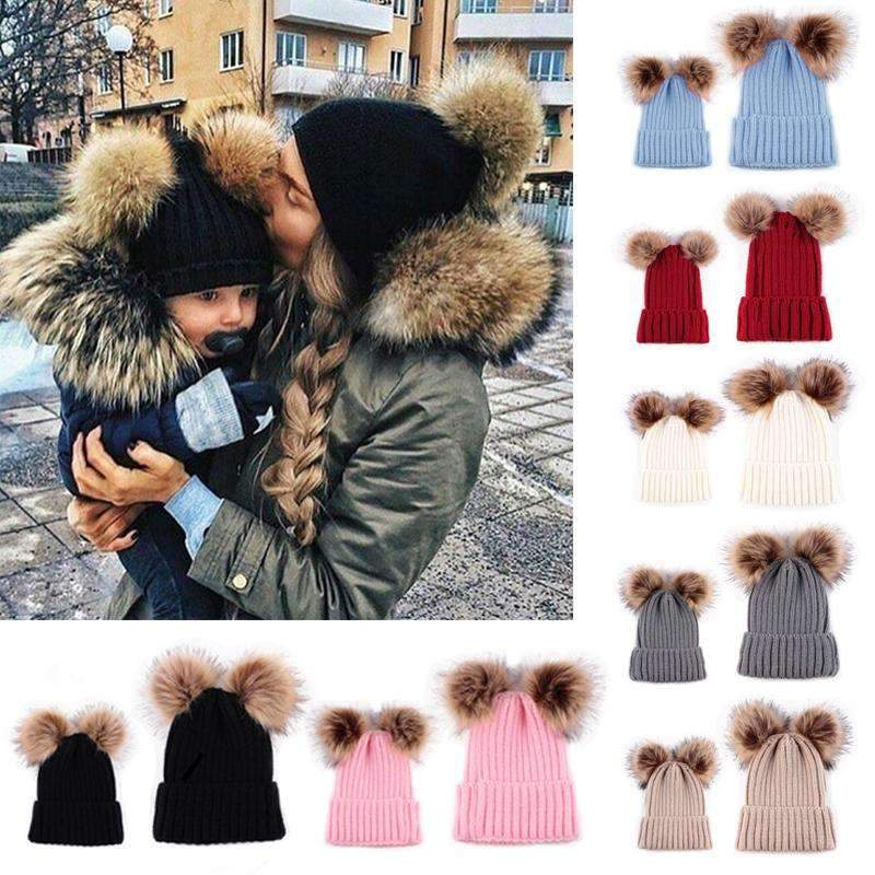 Lovely Mom&Newborn Baby Pompon Caps