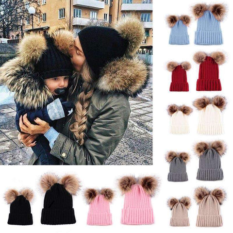 Image of Lovely Mom&Newborn Baby Pompon Caps