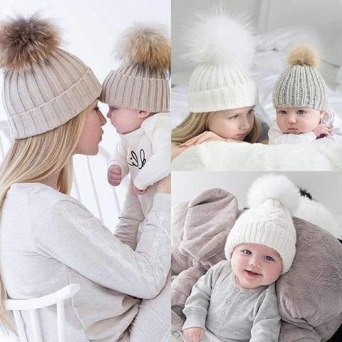 Image of Hot 2PCS Mother+Baby Knit Pom Caps
