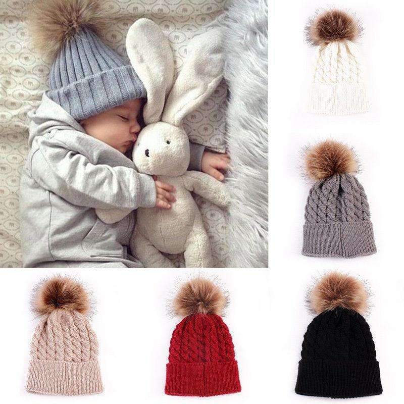 Hot 2PCS Mother+Baby Knit Pom Caps