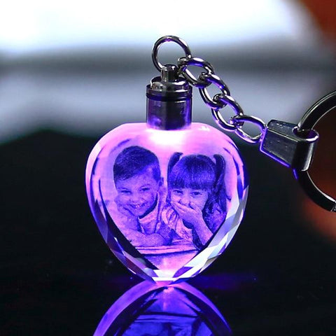 Image of Personalized Laser Engraved LED Crystal Keychain
