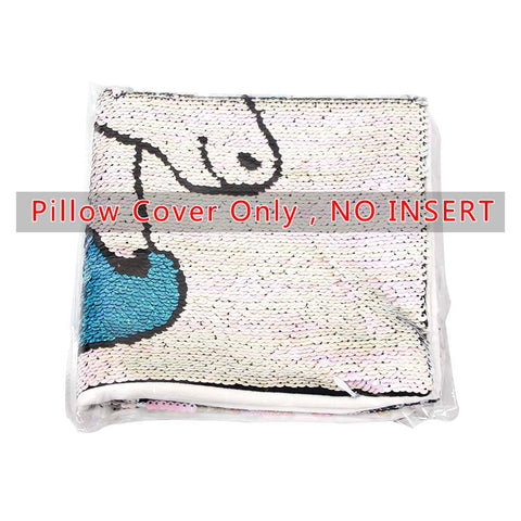 Image of Reversible Sequins Cartoon Unicorn Pillowcase