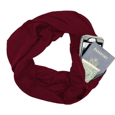 Convertible Infinity Travel Scarf with Pocket