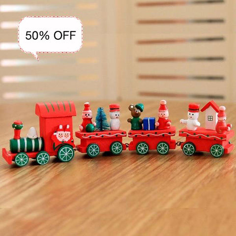 Image of Christmas train painted wood with Santa/bear Xmas