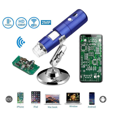 Image of 1080P WIFI Digital Microscope 1000X Zoom Camera IOS Android Iphone Windows Electronic Microscope 8 LED Light Handheld USb Camera