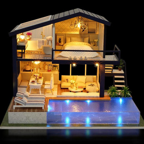 Image of DIY 3D Miniature Wooden House with Furniture