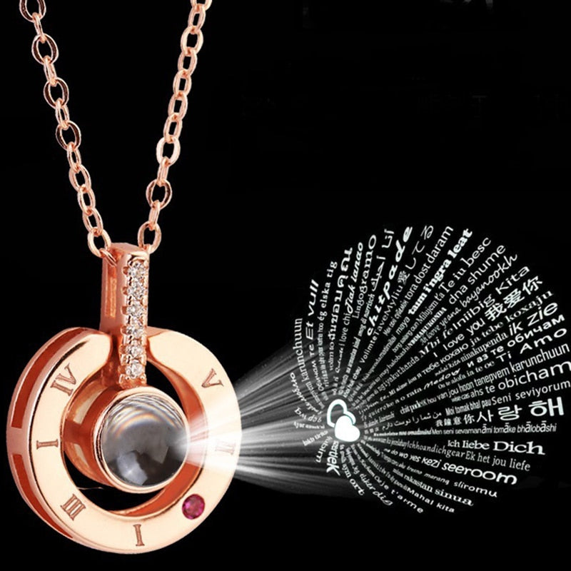 "Projection Pendant Necklace 100 languages ""I love you"""