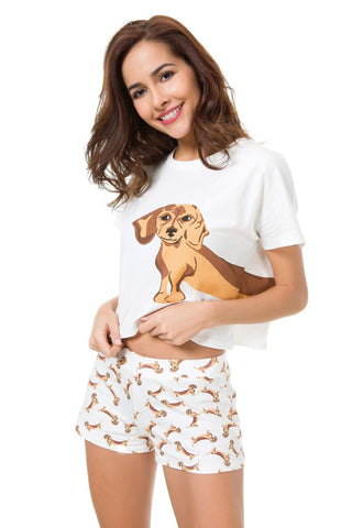 Image of DACHSHUND TWO PIECE PAJAMA SET