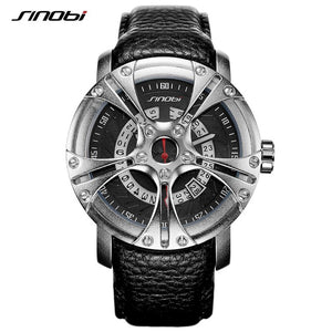 Men Leather Straps Racing Wheel Sports Quartz Watches - MytrendyShopping