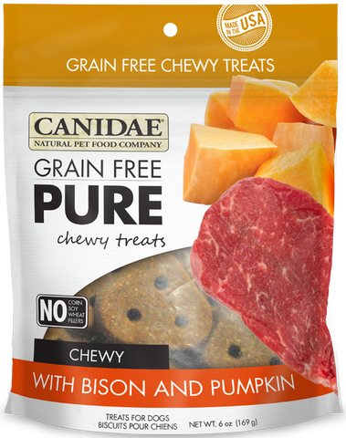Canidae Grain Free PURE Chewy Treats with Bison and Pumpkin Dog Treats
